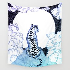 Ombre Tiger Moon Wall Tapestry