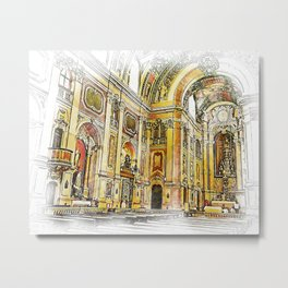 Catholic Church Interior Baroque Style Art Metal Print