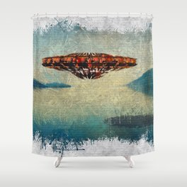 UFO Over Water Shower Curtain