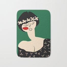 Girl with flower crown Bath Mat