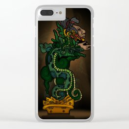 Mayan Serpent God Clear iPhone Case