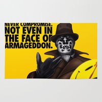watchmen Area & Throw Rugs featuring Rorschach by joogz