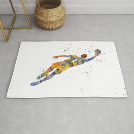 Soccer player in watercolor-23 Rug