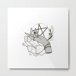 Witchy things - white Metal Print
