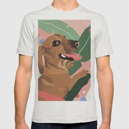 Dachshund puppy with palm leaves in bold colors T-shirt