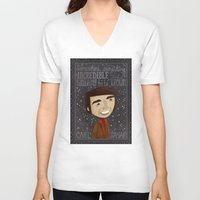 sagan V-neck T-shirts featuring Carl Sagan by Stephanie Fizer Coleman