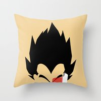 vegeta Throw Pillows featuring Saiyan Prince (Vegeta) by Timmy D. Matias