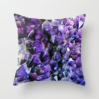 geode Throw Pillows featuring Amethyst Geode by The Wellington Boot