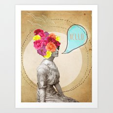 Collage Love - Miss Lady Bird Art Print