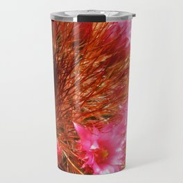 Red Cactus in Bloom Travel Mug