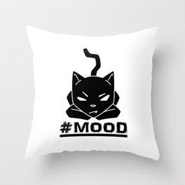 #MOOD Cat Black Throw Pillow
