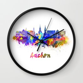 Aachen skyline in watercolor Wall Clock