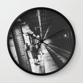 New York Subway, Black and White Wall Clock