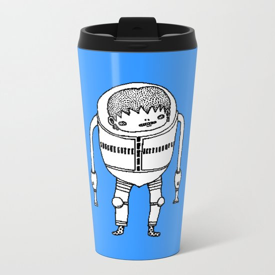 Cyborg Robot Zombie-boy ( HQ pixel ) Metal Travel Mug