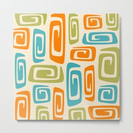 Mid Century Modern Cosmic Abstract 738 Orange Blue and Green Metal Print