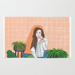girl in peach with plants illustration painting Rug