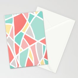 Abstract Triangle Pattern in Coral, Teal, Yellow and White Stationery Cards