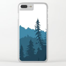 Tree Gradient Blue Clear iPhone Case
