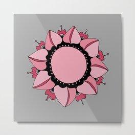 Rose, Pink & Gray Mandala Metal Print