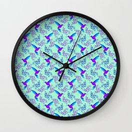 Pretty beautiful cute purple blue hummingbirds, delicate twigs, leaves pastel green lovely pattern Wall Clock