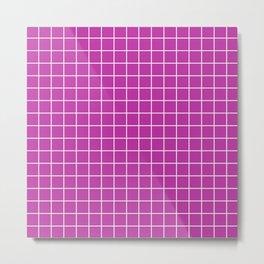 Byzantine - violet color - White Lines Grid Pattern Metal Print