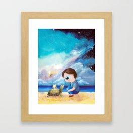 turtle, cosmic sky, sea, ocean, a boy, animal Framed Art Print