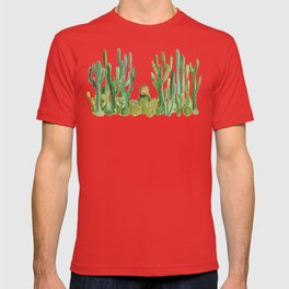 In my happy place - hedgehog meditating in cactus jungle T-shirt