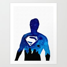 Super Man Double Exposure Art Print