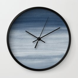 Touching Navy Blue Watercolor Abstract #1 #painting #decor #art #society6 Wall Clock