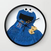 cookie monster Wall Clocks featuring Cookie Monster by Dano77