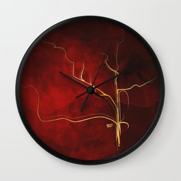 Kintsugi Red #red #gold #kintsugi #japan #marble #watercolor #abstract Wall Clock