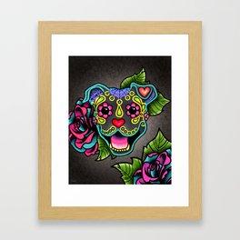 Smiling Pit Bull in Blue - Day of the Dead Pitbull Sugar Skull Framed Art Print