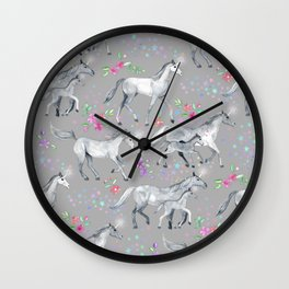 Unicorns and Stars on Soft Grey Wall Clock