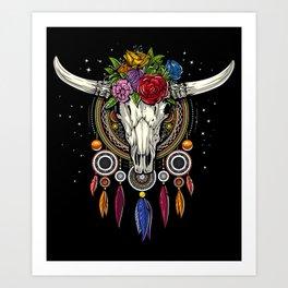 Hippie Cow Skull Dream Catcher Art Print