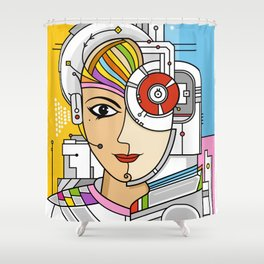 Mujer Robot Shower Curtain