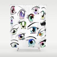 manga Shower Curtains featuring Manga Eyes by TAEMI.