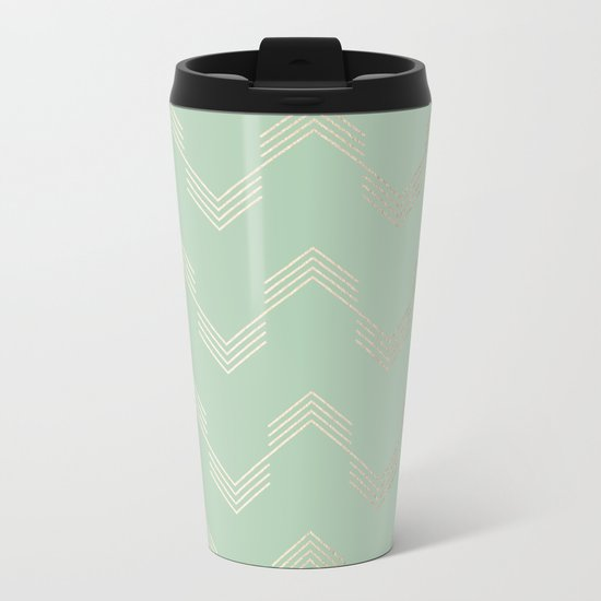 Simply Deconstructed Chevron in White Gold Sands and Pastel Cactus Green Metal Travel Mug