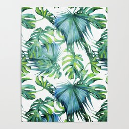 Blue Jungle Leaves, Monstera, Palm #society6 Poster