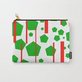 Green Pentagons Stripes Carry-All Pouch