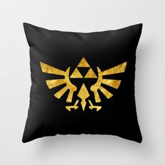 Zelda Golden Hylian Crest Throw Pillow