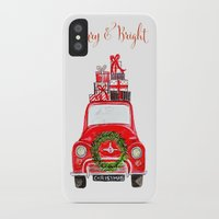 craftberrybush iPhone & iPod Cases featuring Red Christmas Car - white  by craftberrybush