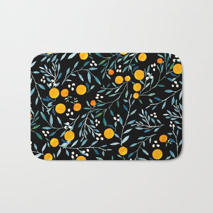 Oranges Black Bath Mat