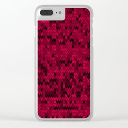 Red knitted textiles Clear iPhone Case