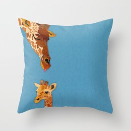 mom and baby giraffe Throw Pillow