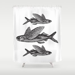 Flying Fish | Vintage Flying Fish | Black and White | Shower Curtain