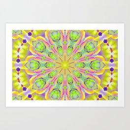 Peace Rose Neon Kaleidoscope Art Print
