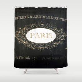 Paris Black White Gold Typography Home Decor Shower Curtain