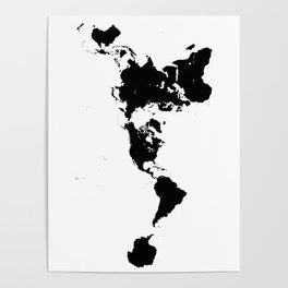 Dymaxion World Map (Fuller Projection Map) - Minimalist Black on White Poster