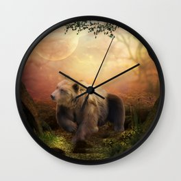 Awesome bear in the night Wall Clock