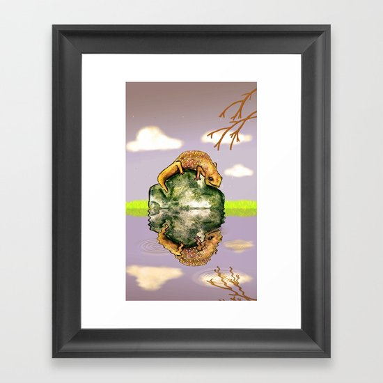 Reflect upon yourself on a rainy day  Framed Art Print